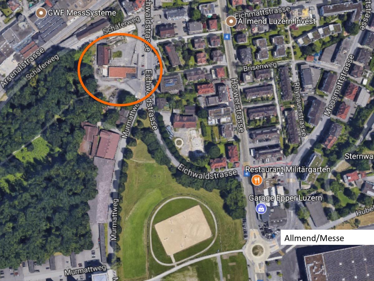 Das Areal mit der Freifläche (roter Kreis) im Gebiet Arsenalstrasse/Murmatt