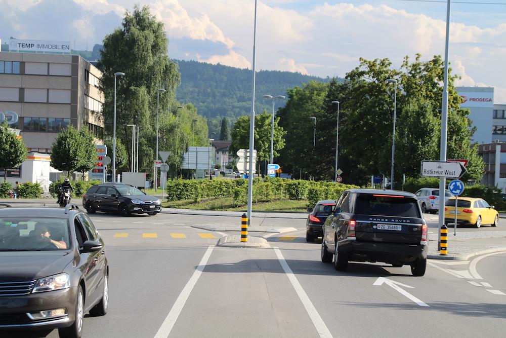 Der Forrenkreisel in Rotkreuz: Im Pendlerverkehr täglich überlastet.