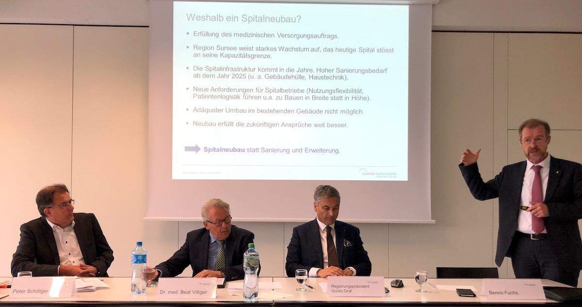 LUKS-Gremium bei der Pressekonferenz (von links): Peter Schilliger, Beat Villiger, Guido Graf und Benno Fuchs.