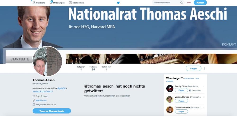 Der Twitter-Account von Thomas Aeschi. Schon 95 Follower, aber noch kein einzier Tweet.
