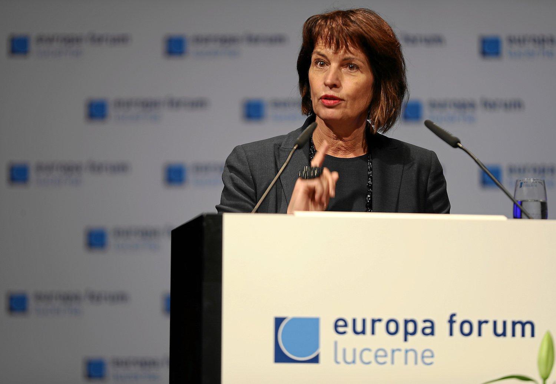 Doris Leuthard, Bundespräsidentin und Vorsteherin des UVEK, spricht anlässlich des Europa Forum über die Digitalisierung.