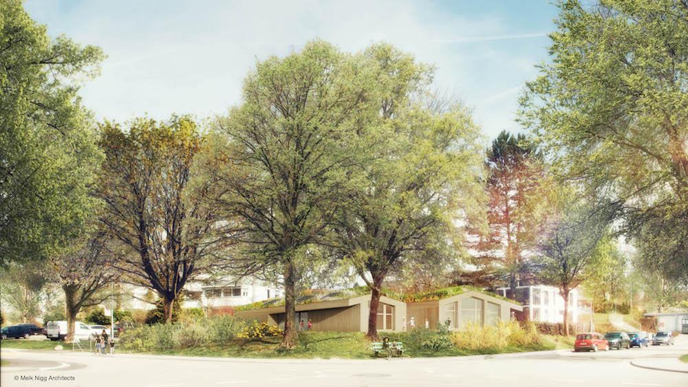 Eingebettet inmitten von Spitzahornbäumen: Wie Waldhütten mutet der Kindergarten Hasenberg an der Grabenackerstrasse in Steinhausen an. Im Sommer 2018 soll er fertig sein.