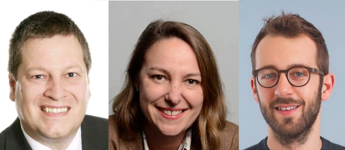 SVP-Präsident Peter With (links), FDP-Fraktionschefin Sonja Döbeli Stirnemann und SP-Präsident Claudio Soldati.