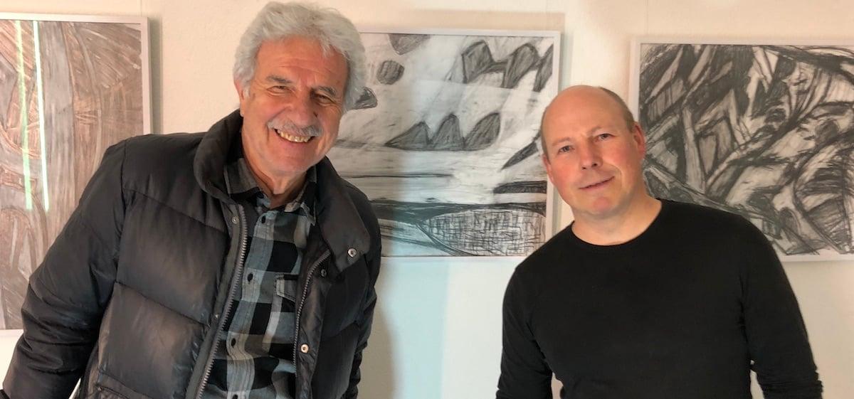 Der Künstler und sein Kunde: Werner Birnstiel mit Erwin Kuster.