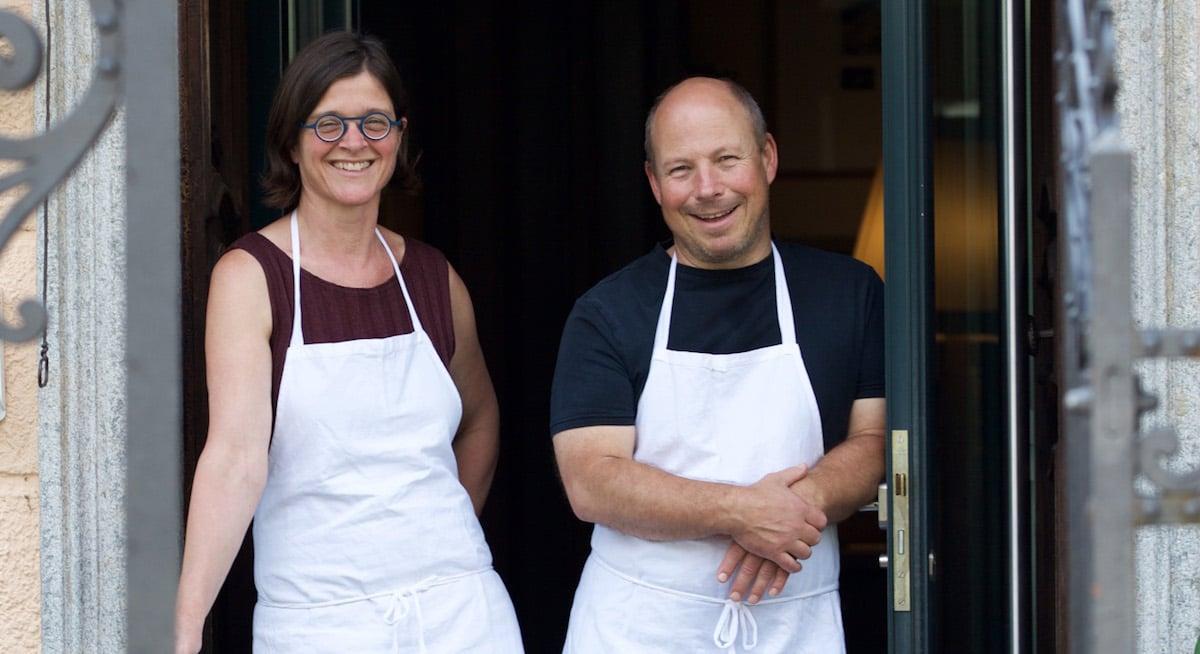 Der Hotelier und seine Frau: Werner Birnstiel mit Pia Steiner.