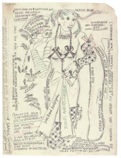 Zeichnungen, Skizzen, Briefe, Notizen, Figürchen, Zettel mit Gedanken, Wortspielen und Aphorismen, Schächtelchen mit «Sprach-Verzierungen» und gefüllt mit verschiedensten Objekten, die sie wie Reliquien aufbewahrte, sind aus ihrem Schaffen zwischen Chaos, Kreativität und Eros überliefert.