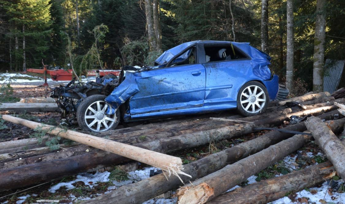 Das Auto prallte heckseitig in einen Baum.
