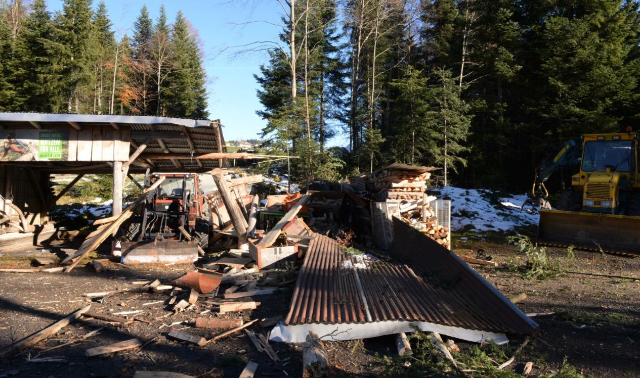 Das Fahrzeug krachte durch diesen Holzunterstand.