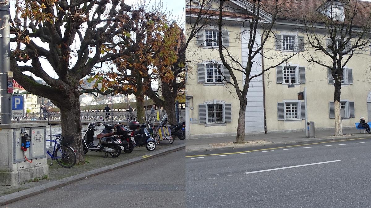 Hier stehen schon bald junge und kleinere Bäume. Die Bahnhofstrasse (links) und die Obergrundstrasse.