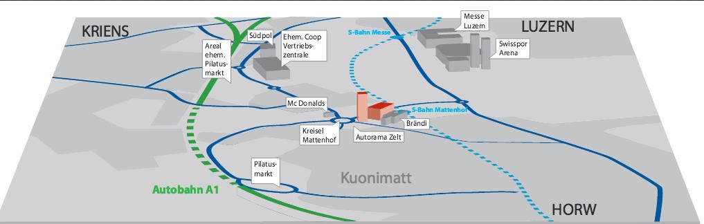 So wäre die Pilatus Arena ans Verkehrsnetz angeschlossen. Die ZB-Haltestelle Kriens-Mattenhof wäre direkt davor und soll künftig im 7,5-Min-Takt nach Luzern fahren.