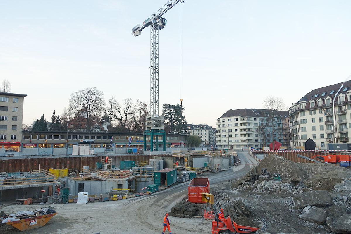 Im Kanton Luzern wurde so viel gebaut wie nie. Unser Bild: die Himmelrich-Baustelle in der Stadt Luzern Ende 2016.