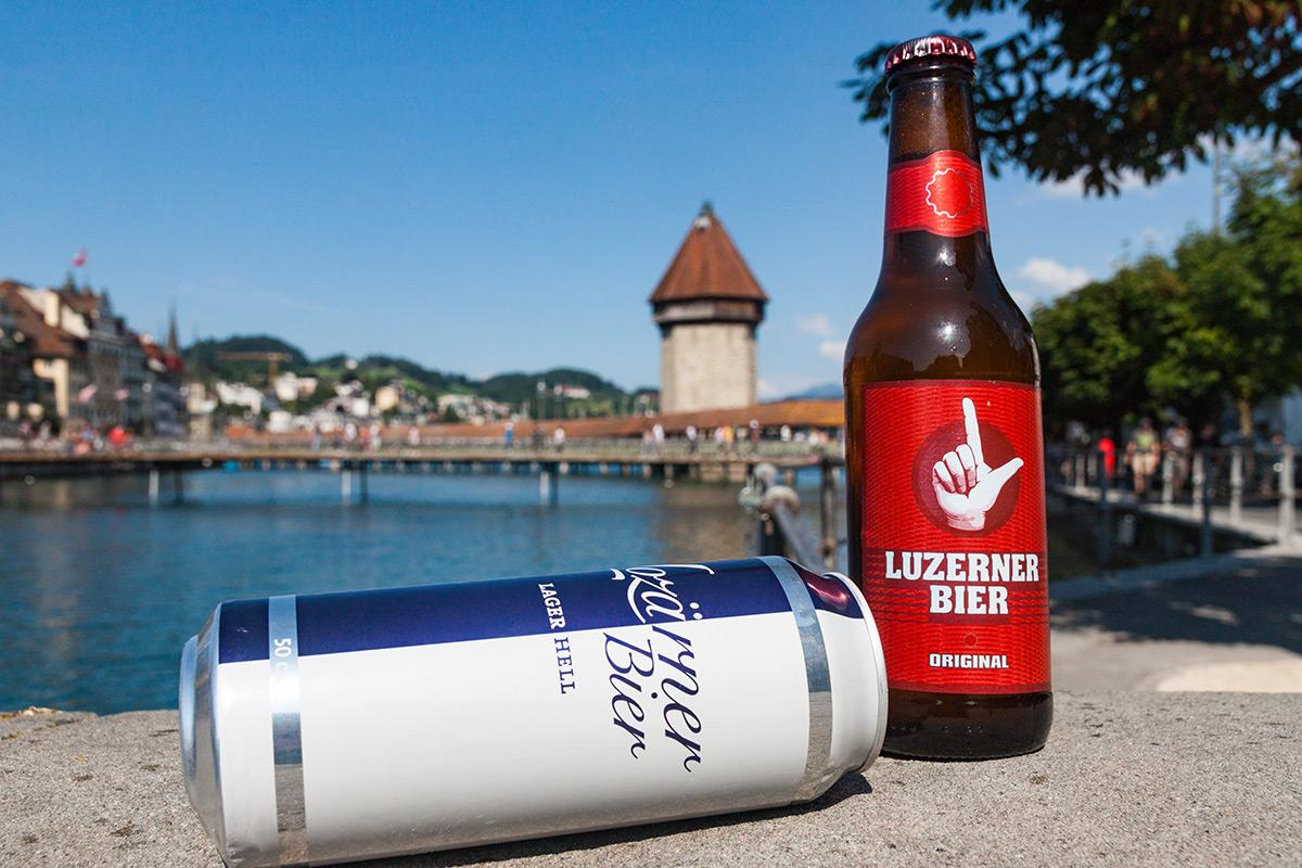 Unterlegen: Das «Lozärner Bier» Lager wird, anders als das namentlich zum Verwechsen ähnliche Luzerner Bier, nicht hier produziert.