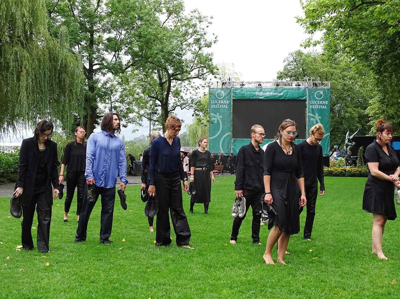 Die Protestaktion nutzte den Auftakt des Lucerne Festival, um Aufmerksamkeit für ihr Anliegen zu gewinnen.