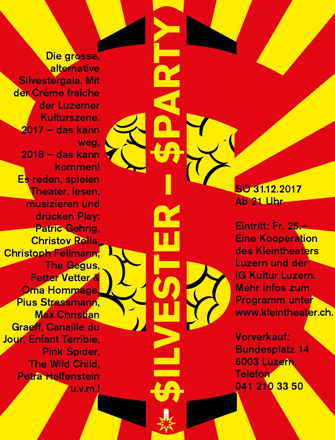 Die «Silvestersparty» – eine Kooperation des Kleintheaters Luzern mit der IG Kultur.