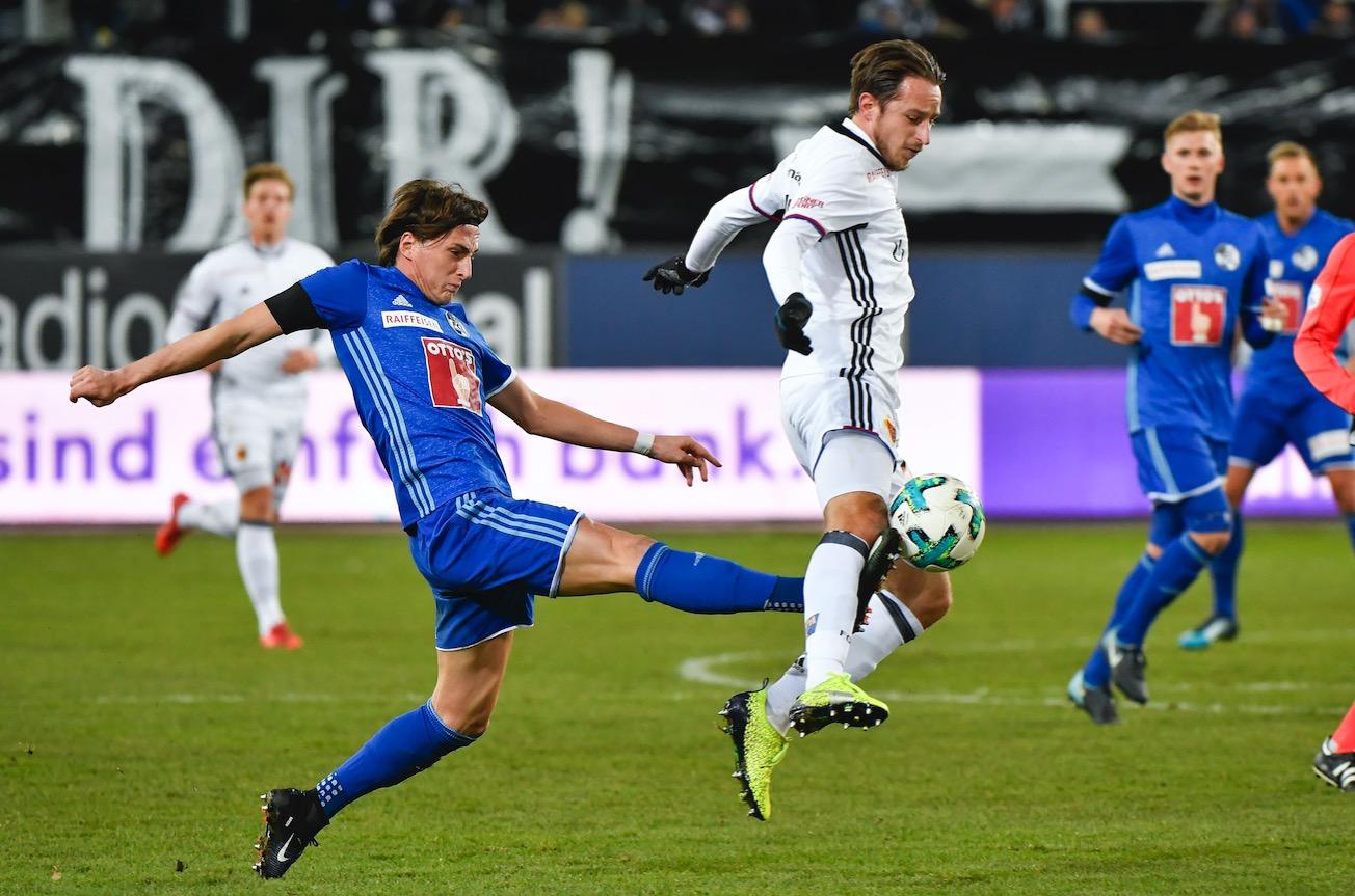 Immer mit vollem Einsatz: FCL-Mittelfeldpuncher Hekuran Kryeziu gegen Basels Luca Zuffi.