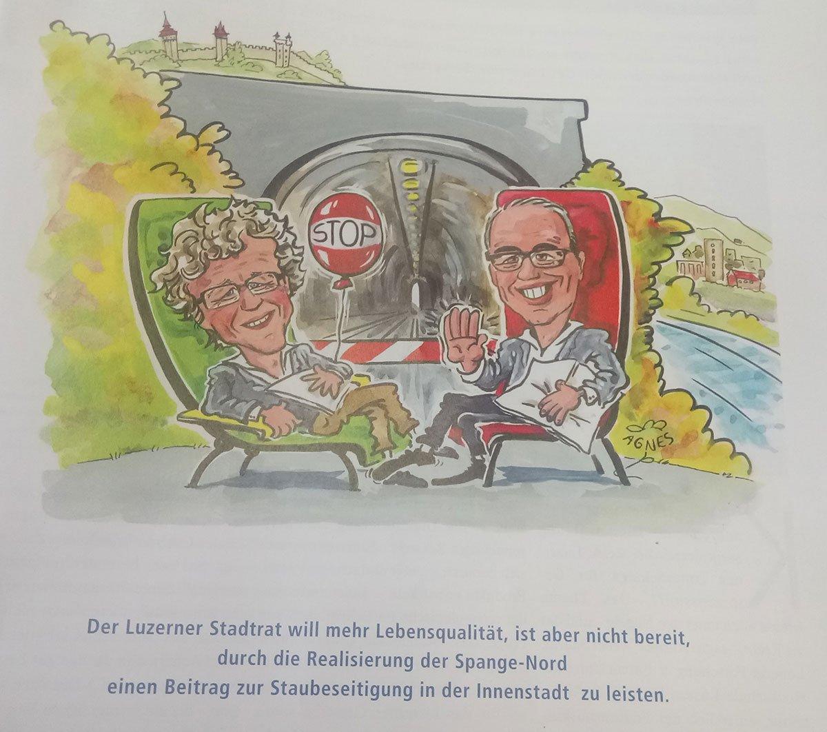 In der Dezemberausgabe des Magazins «KMU» des Luzerner Gewerbeverbandes werden Stadtrat Adrian Borgula (Grüne) und Stadtpräsident Beat Züsli (SP) karikiert.