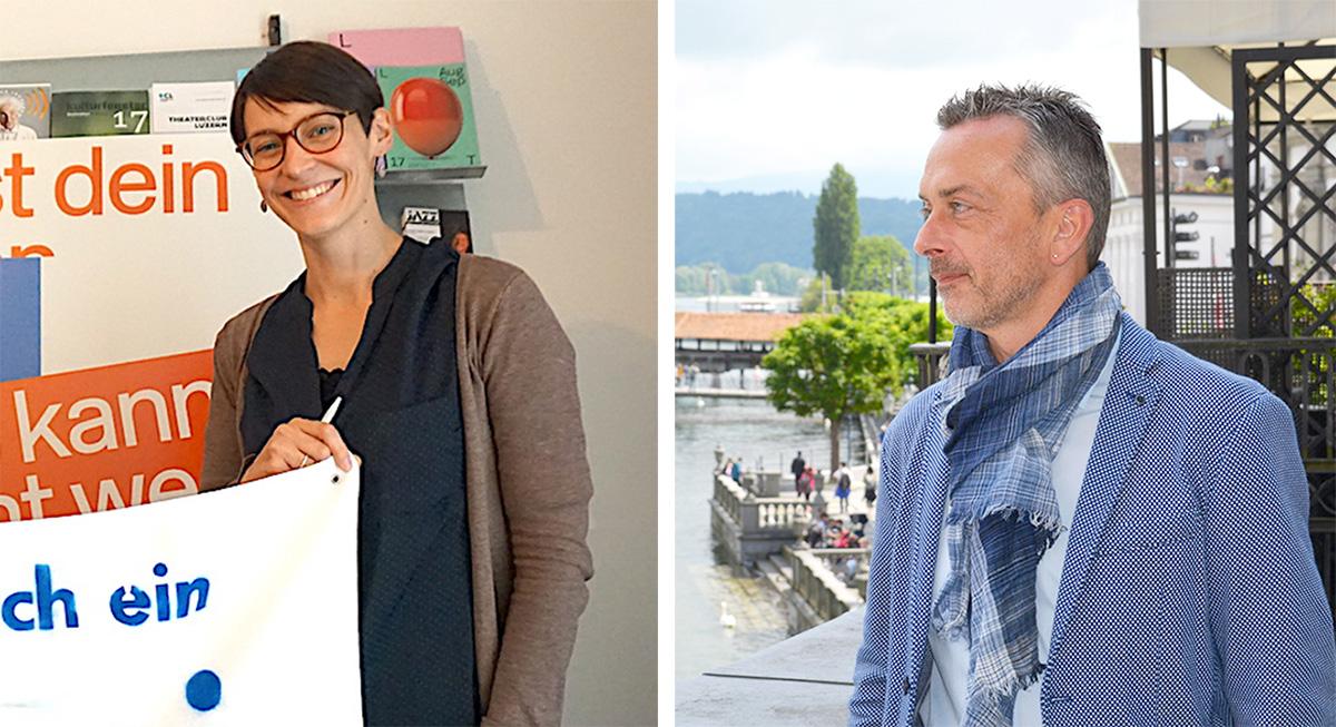 Zuversichtlicher, aber nicht euphorisch: Eva Laniado von der IG Kultur und Stefan Sägesser, Leiter Kulturförderung Kanton Luzern.