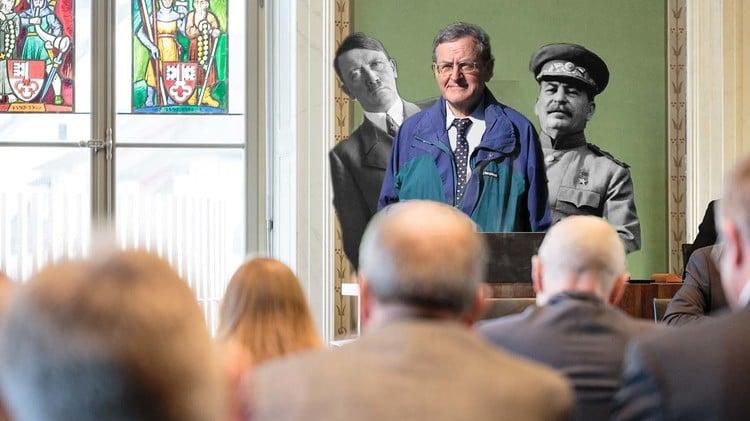 Ein Politiker, der mit Hitler und Stalin wirbt? Das ist nicht nur fragwürdig, sondern auch eine Steilvorlage für eine Photoshop-Vorlage.