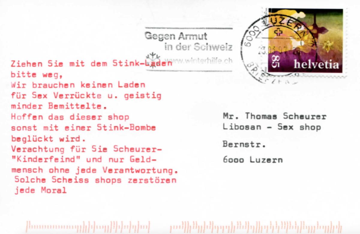 Unter anderem mit dieser Postkarte wurde Ladenbesitzer Thomas Scheurer bedroht.