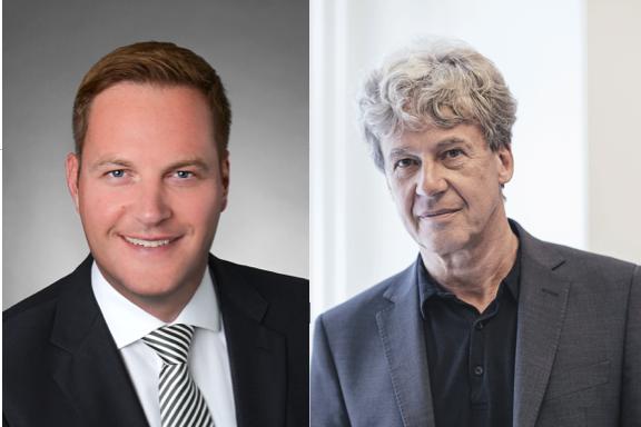 Jan Wengeler, Centerleiter der Mall of Switzerland (links) und Werner Schaeppi, Kommunikationsbeauftragter der Mall, zeigen sich über den neu eingeführten Heimlieferservice optimistisch.
