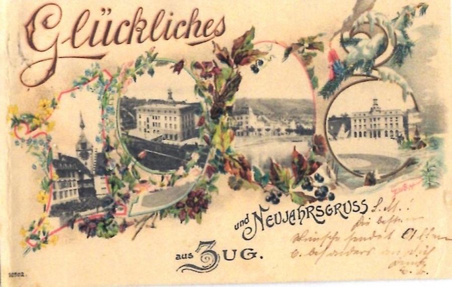 Das schmuckste Exemplar, wie wir finden: Eine Postkarte zum Jahreswechsel 1908, inklusive Abbildungen von Zytturm und Haupttpost.