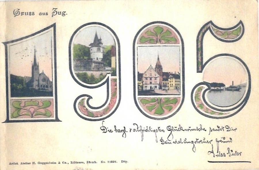 Das Zahlen-Sujet war anscheinend ebenfalls beliebt: Hier die Variante aus 1905.