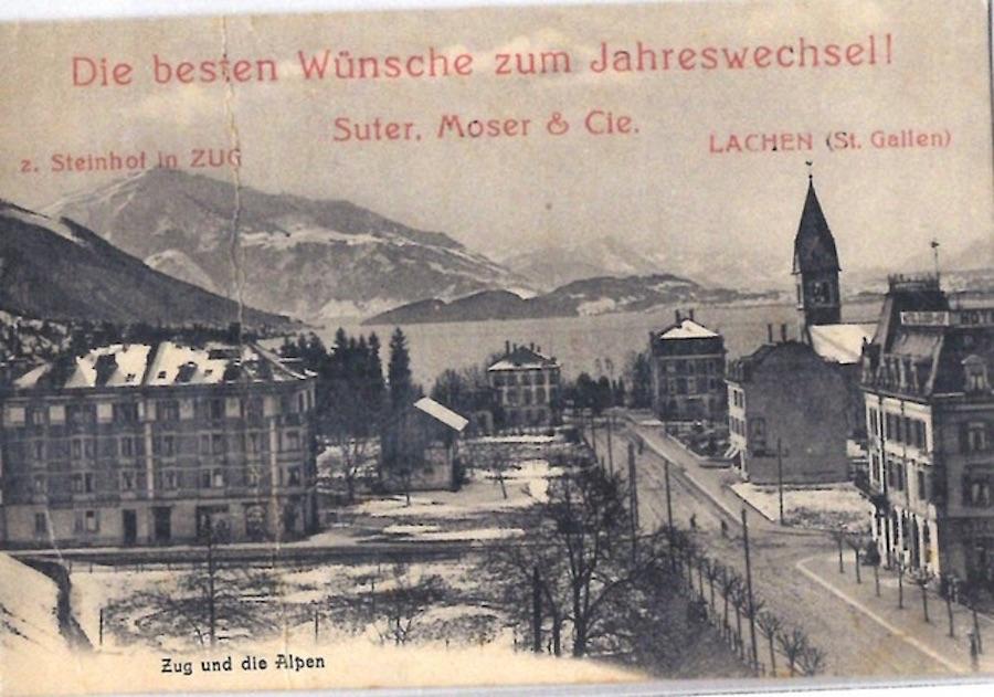 Die ehemalige Seifenfabrik Suter Moser & Cie grüsste vom zugerischen Firmensitz aus.