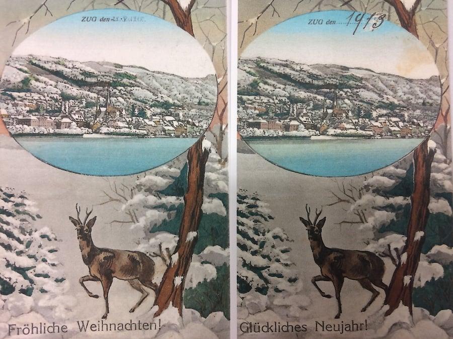 Der doppelte Hirsch in Zug: Wer Pech hatte, bekam die gleiche Karte zu Weihnacht und Neujahr.