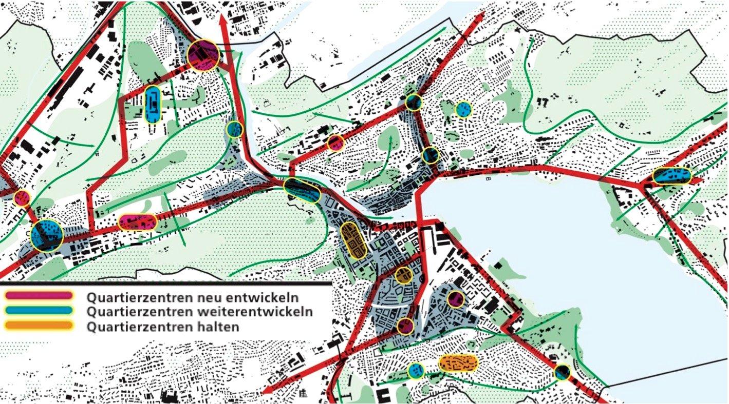 Die Karte zeigt, welche Quartierzentren in der Stadt Luzern bereits bestehen (gelb), welche verbessert werden müssen (grün) und wo es neue braucht (rot).