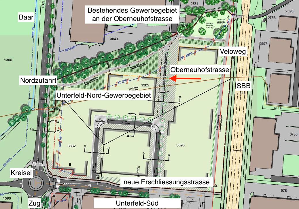 So soll das Gewerbegebiet Unterfeld-Nord aussehen: Der rote Pfeil zeigt, wie die Oberneuhofstrasse aus dem bestehenden Gewerbegebiet als Stichstrasse in das neue Areal geführt wird.