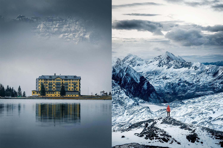 Hotel Misurina in den Dolomiten (links), Bergpanorama bei der SAC-HütteCadlimo im Tessin (rechts).
