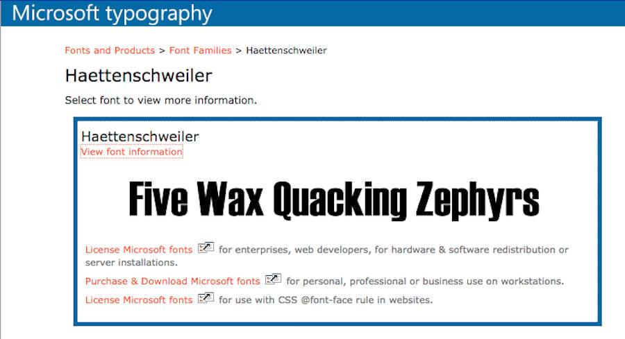 So sieht die Haettenschweiler-Schrift aus, die sich im Katalog von Microsoft befindet.