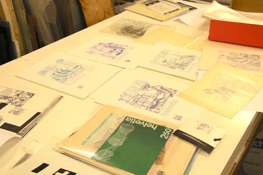 Im Nachlass finden sich noch diverse Vorlagen für die designten Briefmarken.