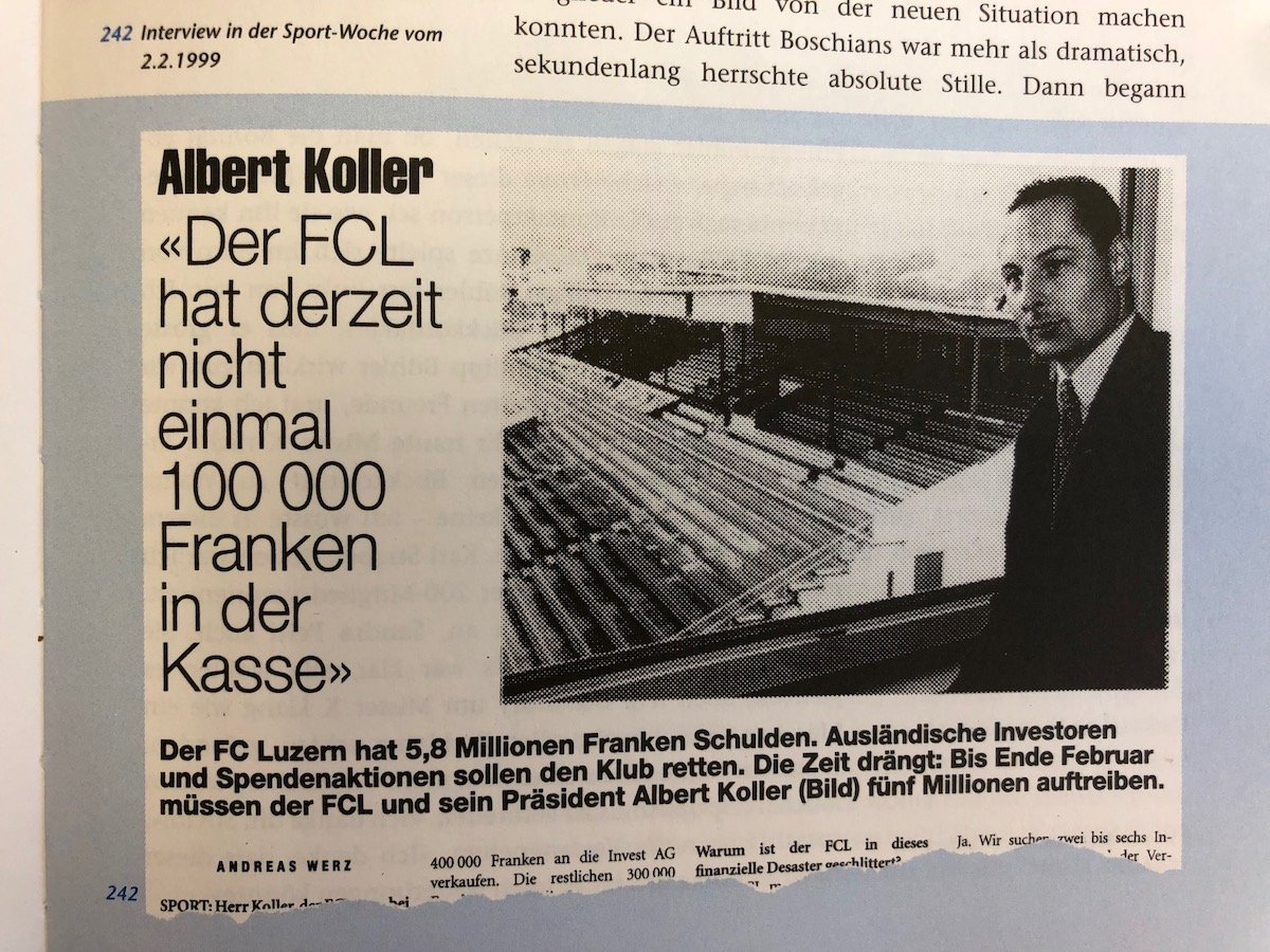 1999 im Stahlbad des Spitzenfussballs: Albert Koller blickt auf Millionenschulden des FCL.