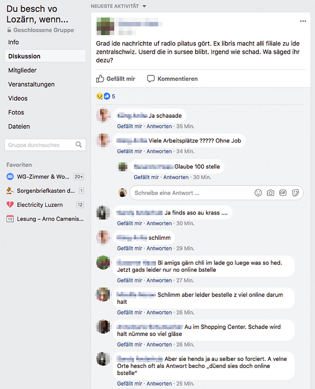 In der Facebook-Gruppe «Du besch vo Lozärn, wenn...» tauschen sich Nutzer über die Filialschliessungen von Ex Libris aus.
