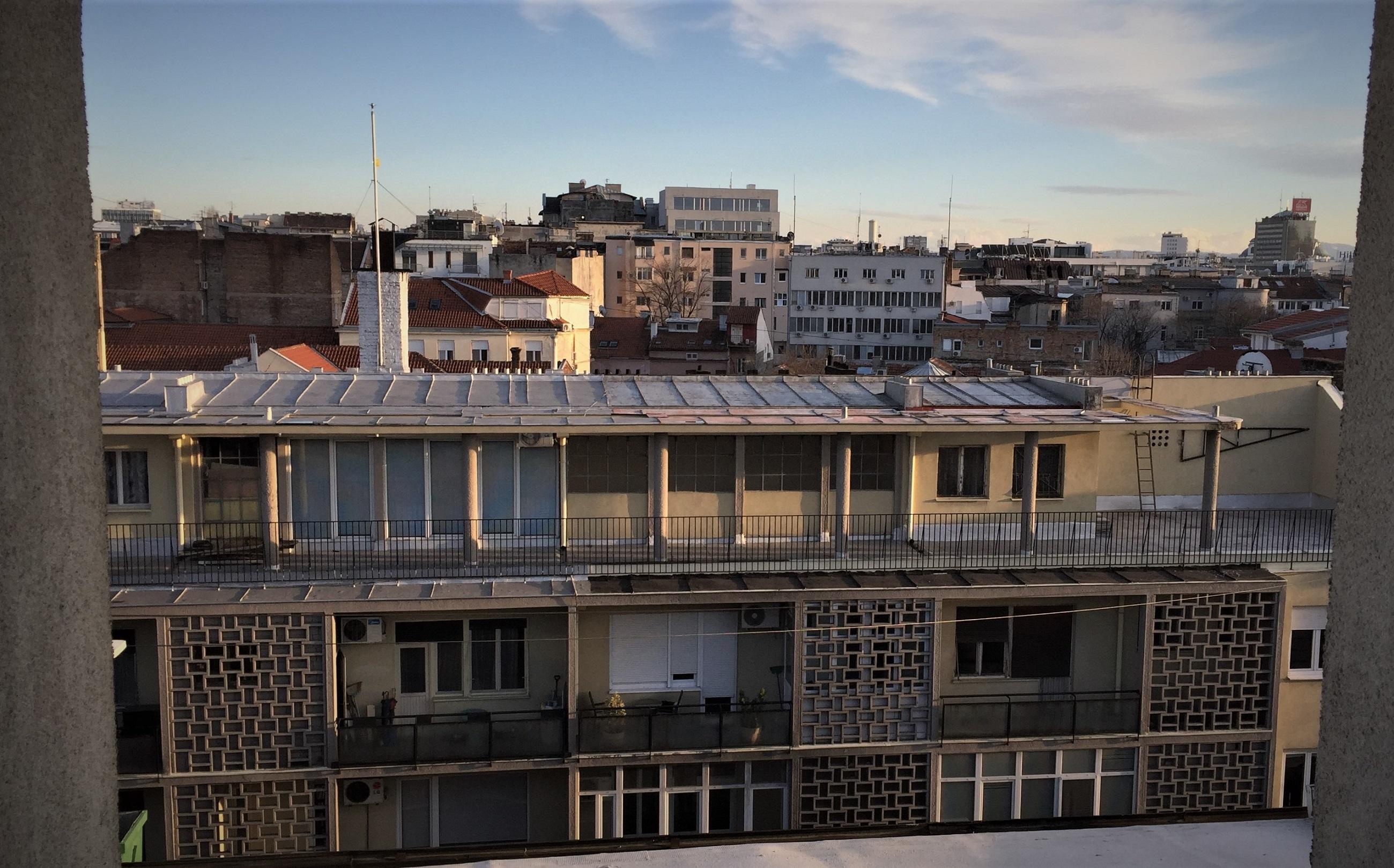 Blick aus dem Schlafzimmer des Ateliers Belgrad, in dem ich zu Gast war.