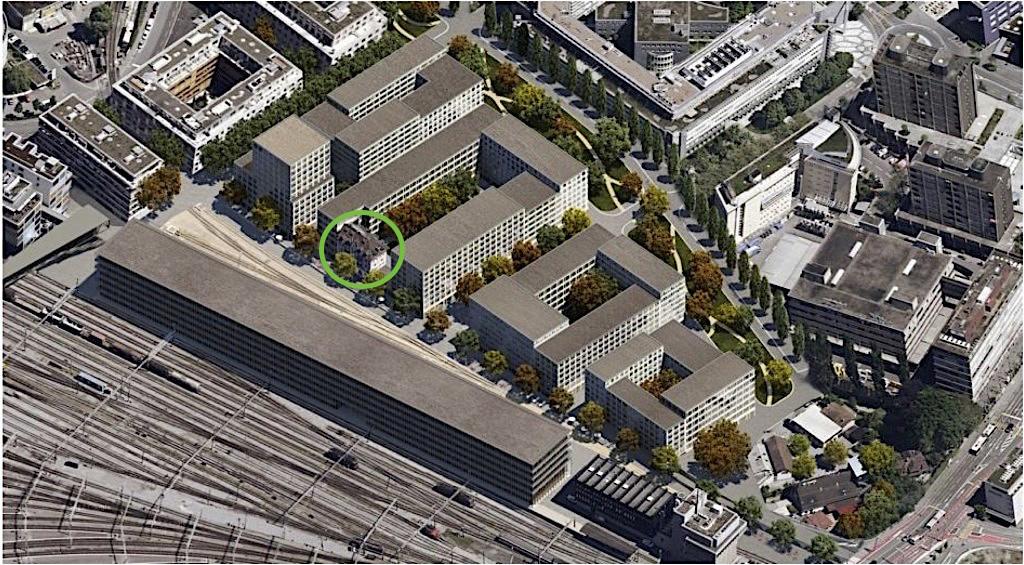 Beim geplanten Projekt auf dem Rösslimatt-Areal ist das Haus an der Güterstrasse 7 integriert.