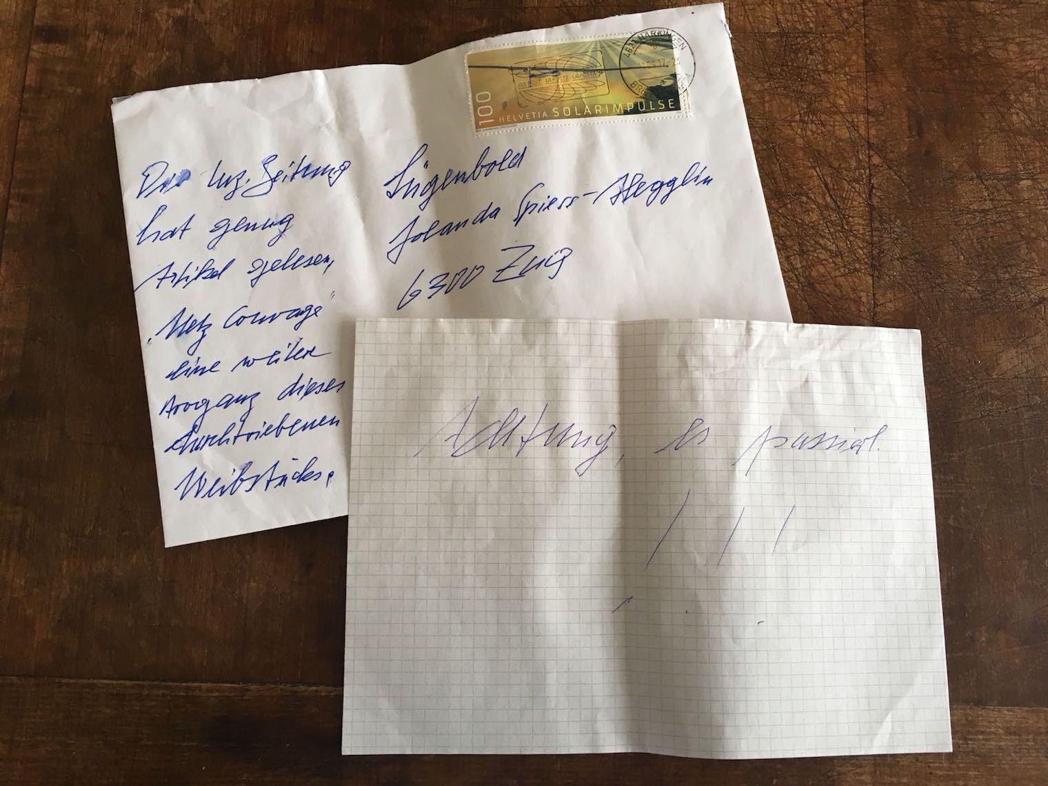 Der anonyme, durch die Polizei retournierte Drohbrief.