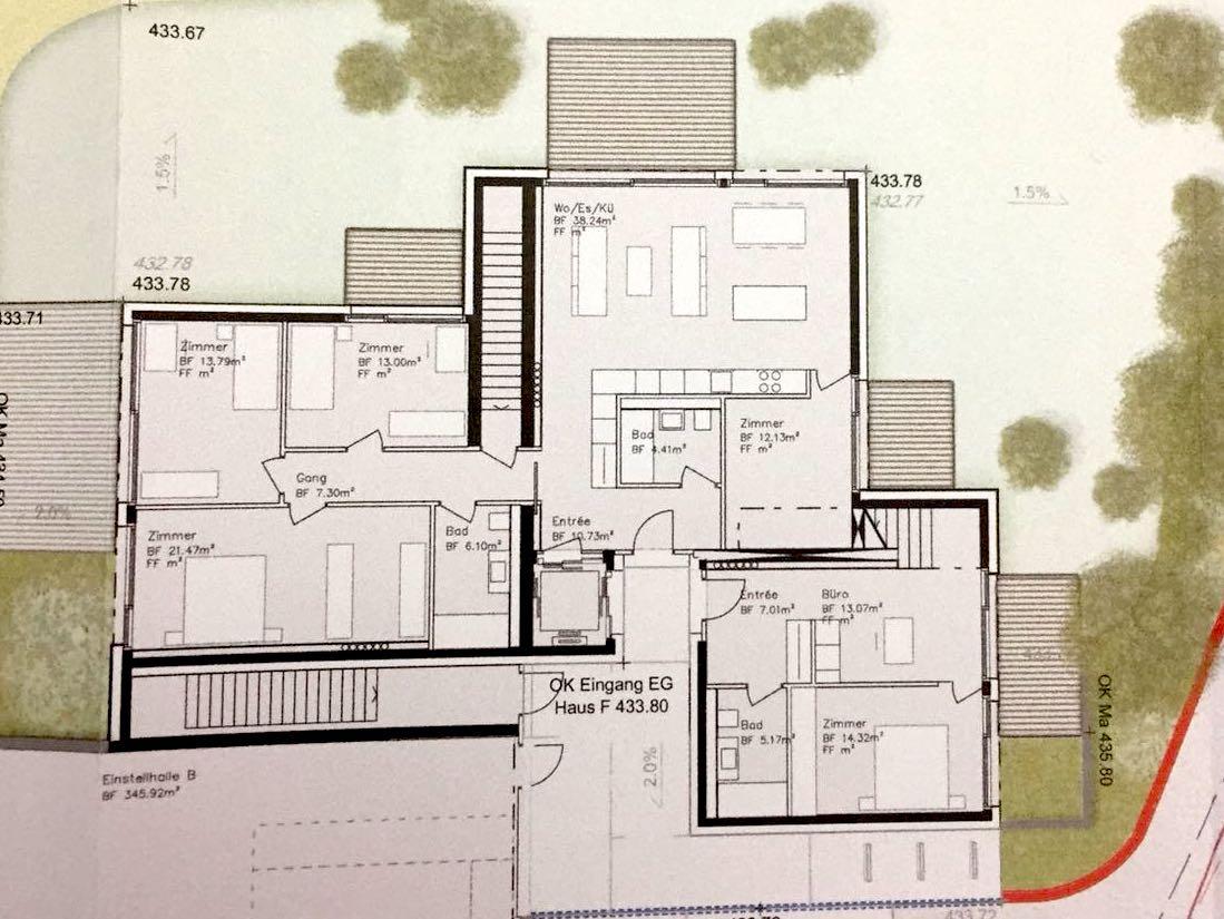 Grundriss eines geplanten Hauses am Mänibach.
