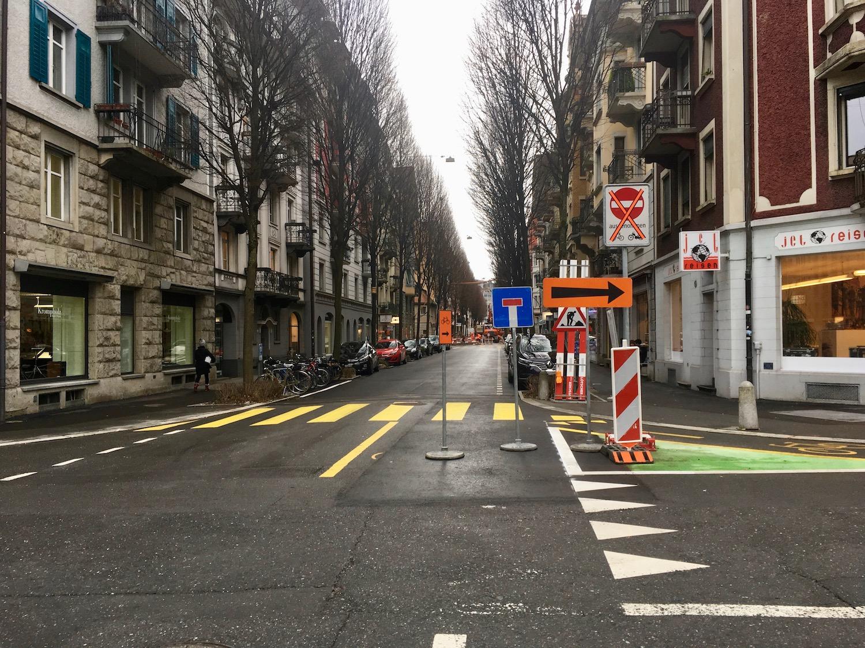 Herrscht eines Tages auf der Winkelried- und der Neustadtstrasse das gleiche Verkehrsregime wie hier an der Bruchstrasse? Der Stadtrat kann es sich jedenfalls vorstellen.