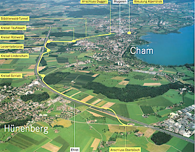 Die 5,3 Kilometer lange Umfahrung Cham-Hünenberg, die 195 Millionen Franken kosten wird, kommt wohl sicher erst 20 Jahre nach der Volksabstimmung 2007: Zuger Rekord für langsamen Strassenbau.
