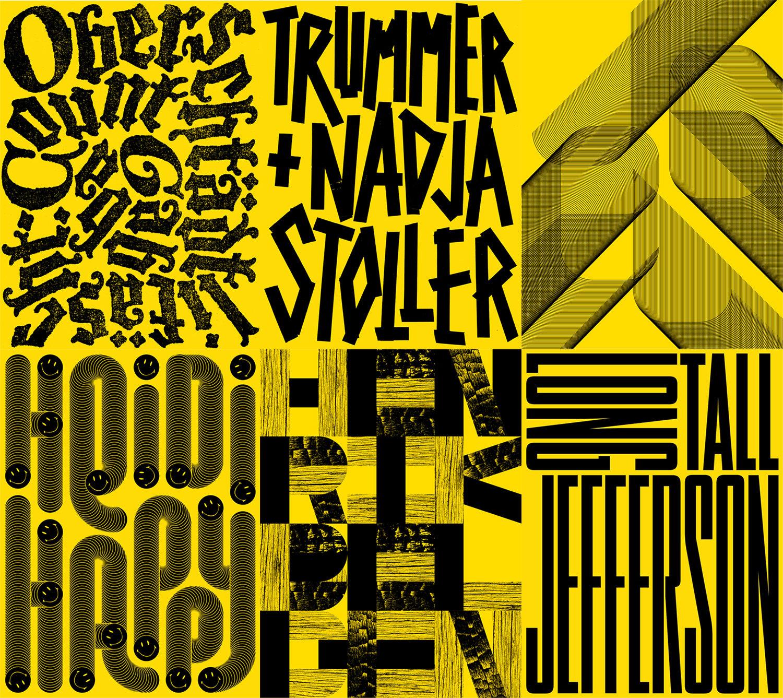 Sechs «Schtei»-Plakalte, alle im typischen Gelb.