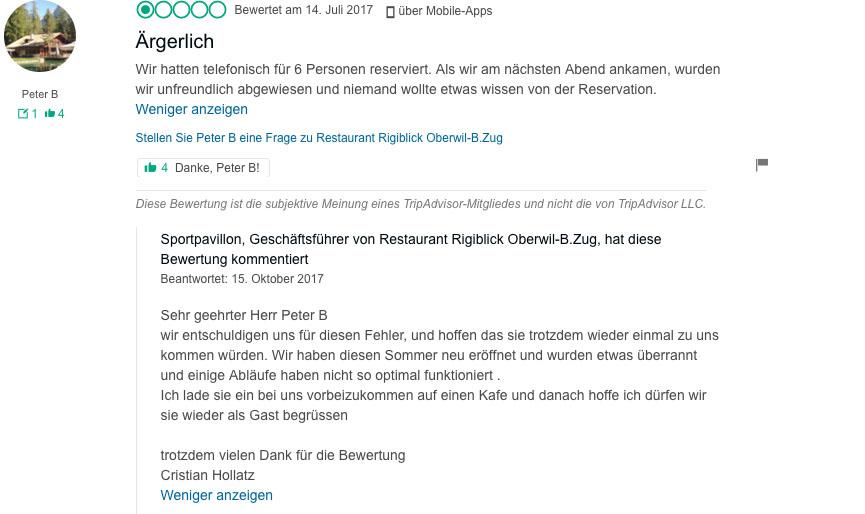 Cristian Hollatz vom Rigiblick in Oberwil: Auf schlechte Kritik reagiert er oft mit Verständnis
