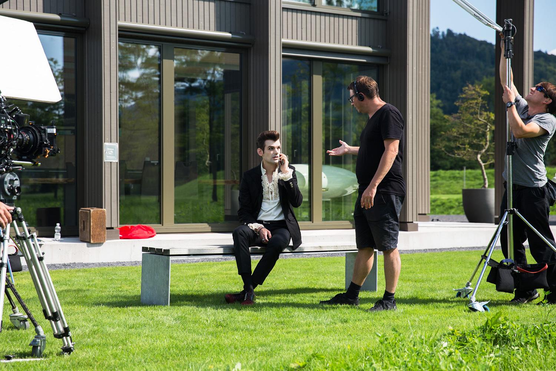 Fabio Testi (Reto Stalder) bei den Dreharbeiten in Malters.