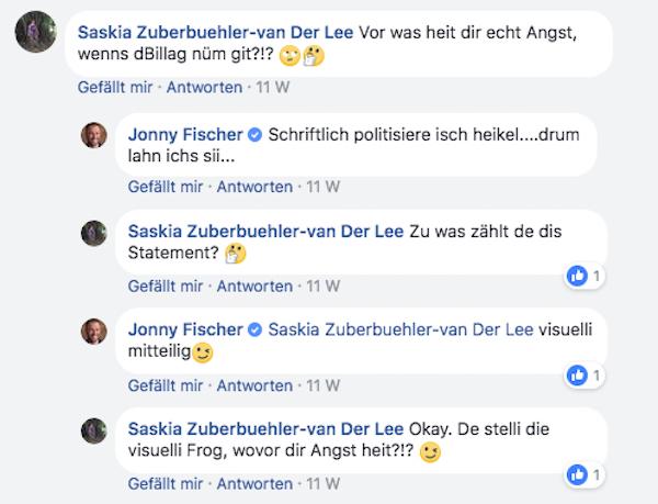 Eine Userin kommentiert Fischers Video auf Facebook – der Angesprochene hält von einer schriftlichen Diskussion aber nicht viel.