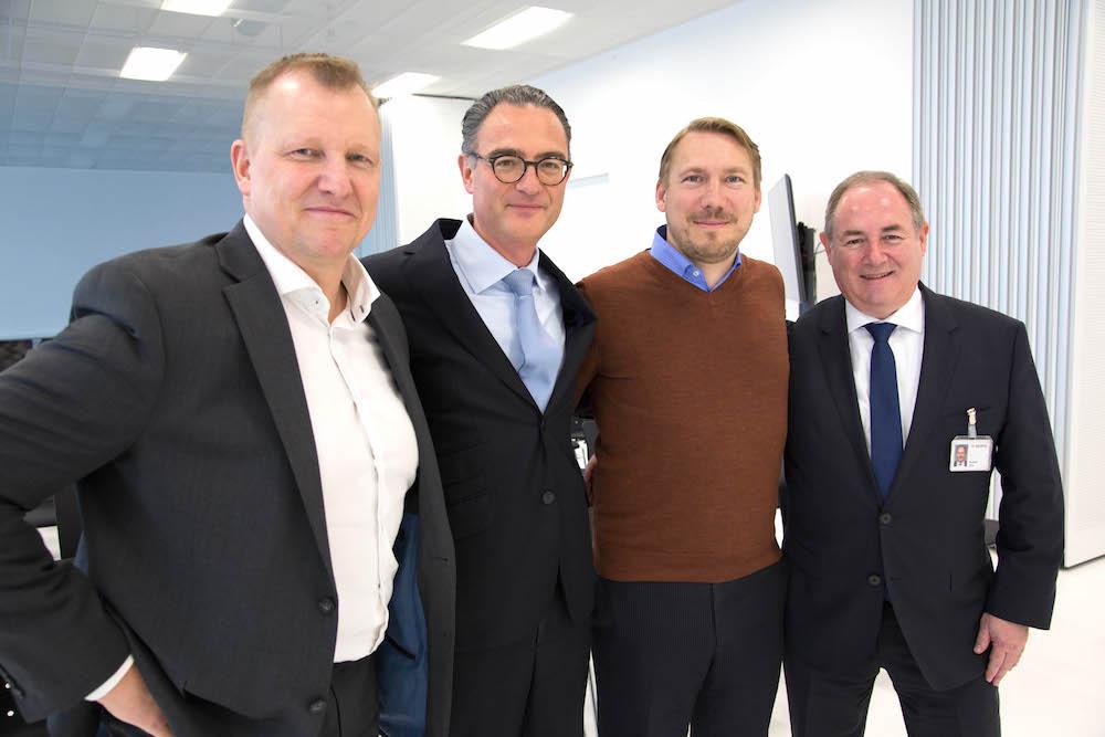 Die neue Crypto-Führung (von links): Anders Platoff, CEO Crypto International Group, Robert Schlup, Verwaltungsratspräsident der Crypto AG, Andreas Linde, Verwaltungsrat und Unternehmer Crypto International Group sowie Giuliano Otth, CEO Crypto AG und Crypto Schweiz AG.