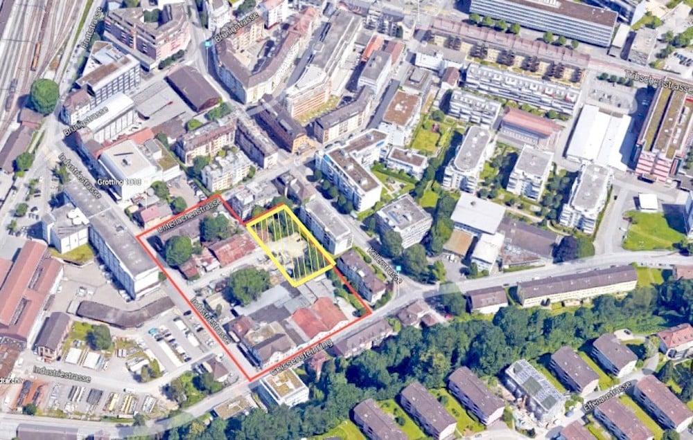 Die gelb markierte Fläche soll zwischengenutzt werden. Rot ist die Gesamtfläche des Areals.