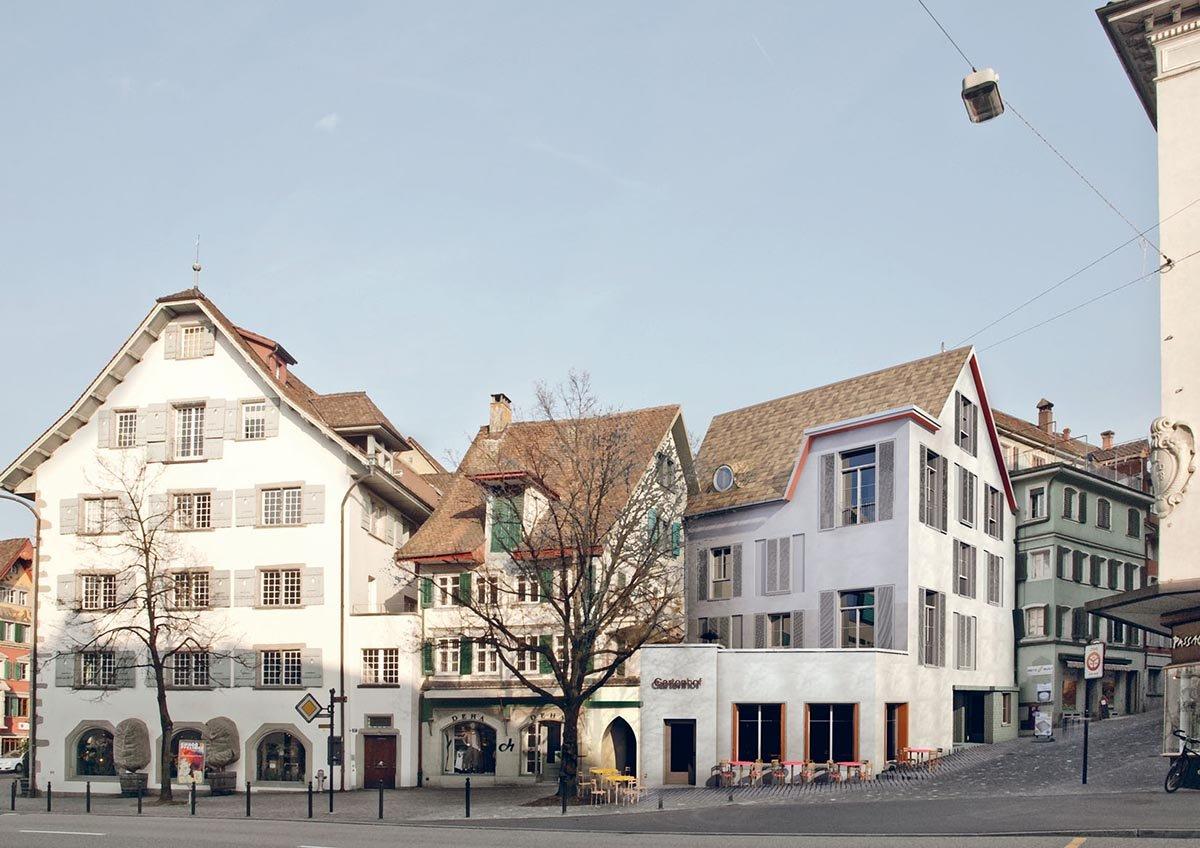 Im September 2017 wird die Confiserie Speck am Kolinplatz im fertigen Neubau ihr Café eröffnen (Modellfoto, drittes Haus von links). Zusammen mit einer Postagentur?