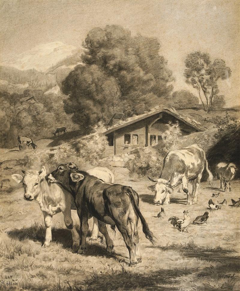 Rudolf Koller, Zwei kosende Kälblein