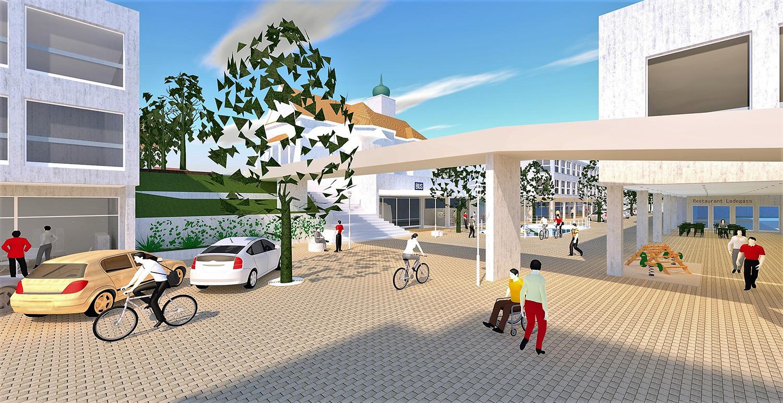Tempo 20 und ein Nebeneinander von Fussgängern, Velofahrern und Autos: So stellt sich das Komitee «Ebikon lebt» das Zentrum vor.